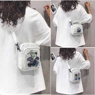 Túi đeo chéo bằng vải canvas dễ thương xinh xắn cho nữ