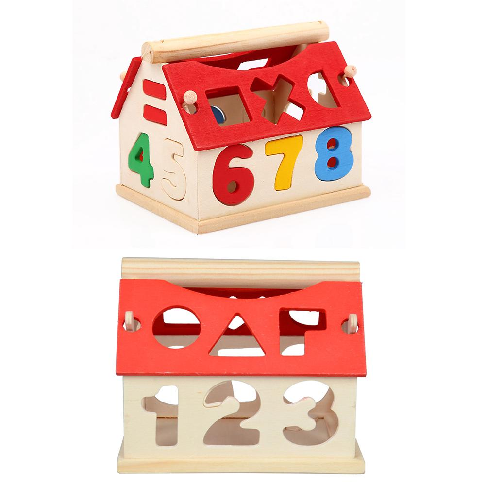 Blocks Wood House Kids Intellectual Developmental Building Baby Educational Birthday GiftsToys