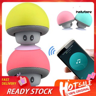 【Ready stock】 Portable Mini Cute Mushroom Waterproof Sucker Bluetooth Speaker Bass Sound Box