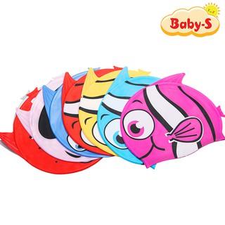 Nón bơi trẻ em, nón bơi cho bé chất silicon chống thấm nước, co giãn tốt hình cá đủ màu sắc cho bé Baby-S - SNB005 thumbnail