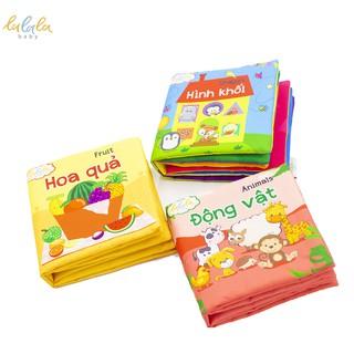 Combo 3 cuốn sách vải Lalala baby, kích thích đa giác quan, kích thước 15x15cm 12 trang (hình khối, hoa quả, động vật)