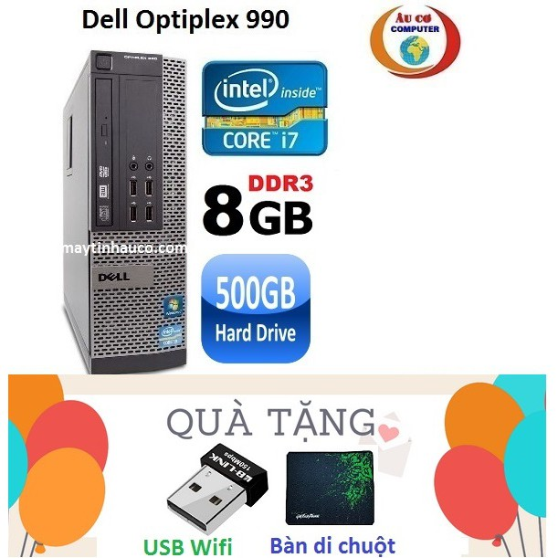 Đồng Bộ Dell Optiplex 990 Core i7 2600 / 8G / 500G - Tặng USB Wifi , Bàn di chuột , Bảo hành 24 tháng