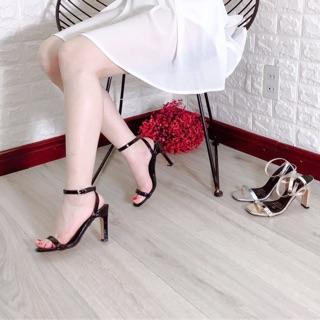 Giày cao gót I Sandal cao gót nữ quai ngang gót dẹt 9p da bóng sang chảnh cực kì