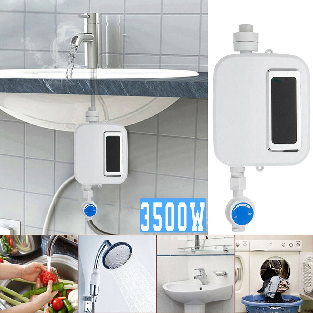3500W Tankless Bathroom Home Digital Mini LCD Display Shower Instant Universal Electric Water Heater