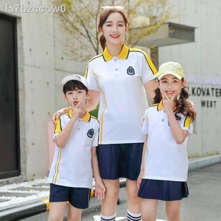 Mùa hè năm 2021 mới nam và nữ thể thao đồng phục học sinh phù hợp với màu trắng vàng giản dị quần áo lớp mẫu gi thumbnail