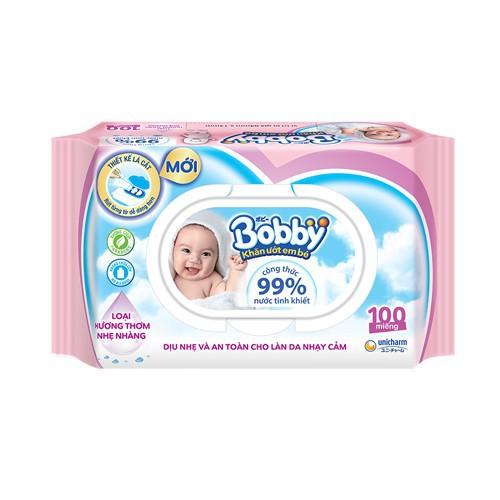 Hình ảnh [HCM] Khăn ướt Bobby Care hương thơm nhẹ nhàng 100 miếng (Hồng)-1
