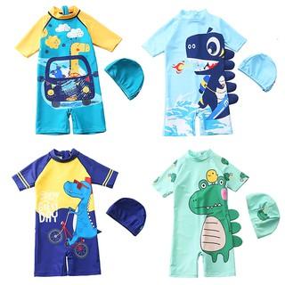 Đồ bơi bé trai, đồ bơi chống nắng cho bé trai 5-10 tuổi liền thân họa tiết khủng long nhiều màu sắc BBShine – DB016
