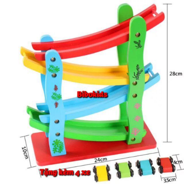 [RẺ VÔ ĐỊCH] Xe cầu trượt 4 tầng bằng gỗ – đồ chơi giáo dục
