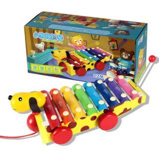 Đồ chơi gỗ đàn xe kéo hình con chó