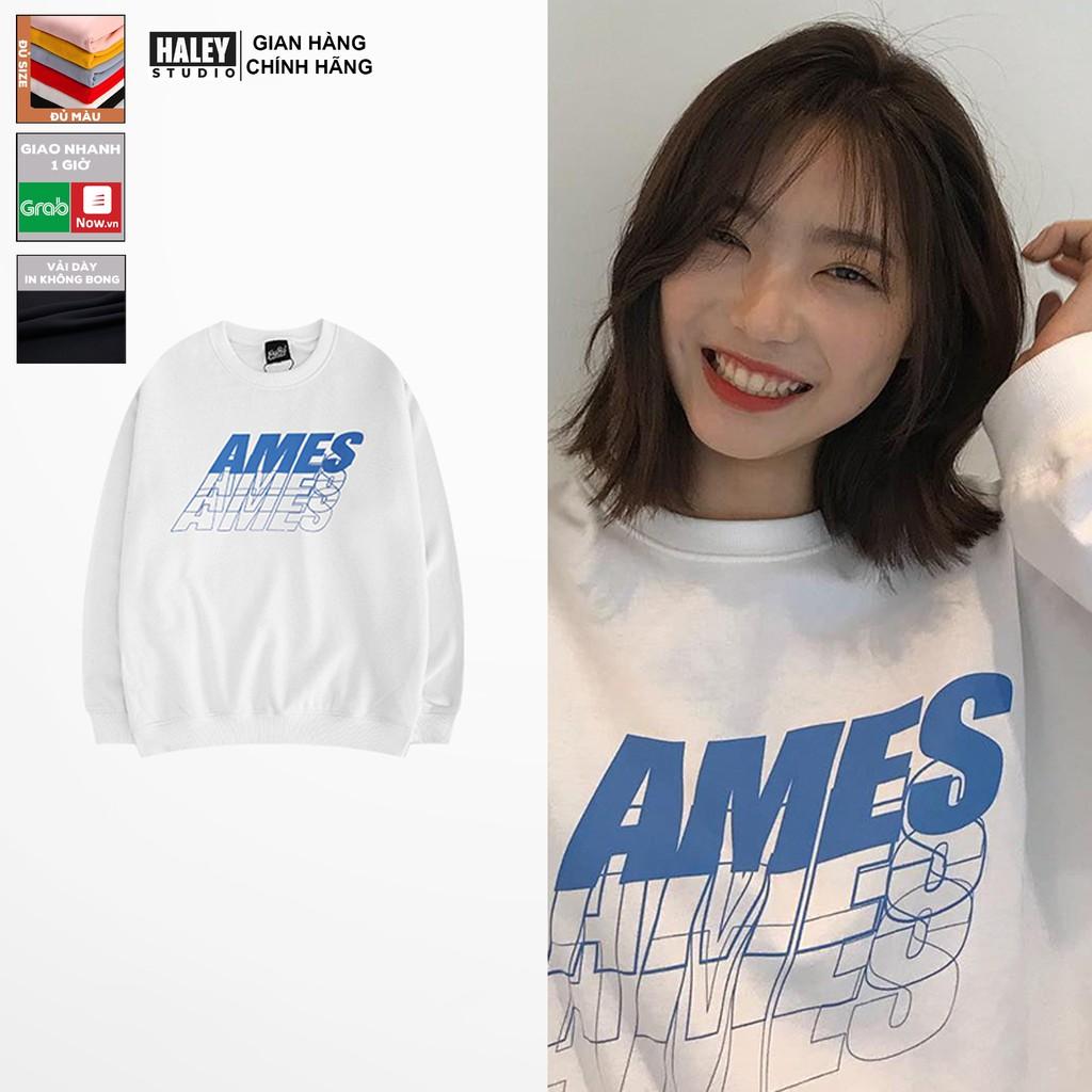 Áo Sweater AMES Nam Nữ unisex phong cách Hàn Quốc cá tính, Chất nỉ bồng đẹp mã HD87 - Tặng vòng xinh