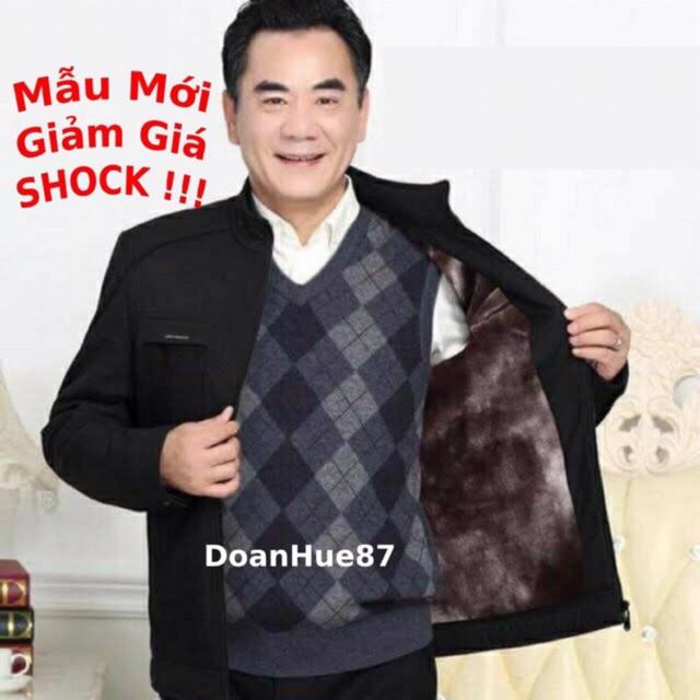Áo khoác trung niên lót lông siêu mềm mịn tặng bố mẫu mới 2020