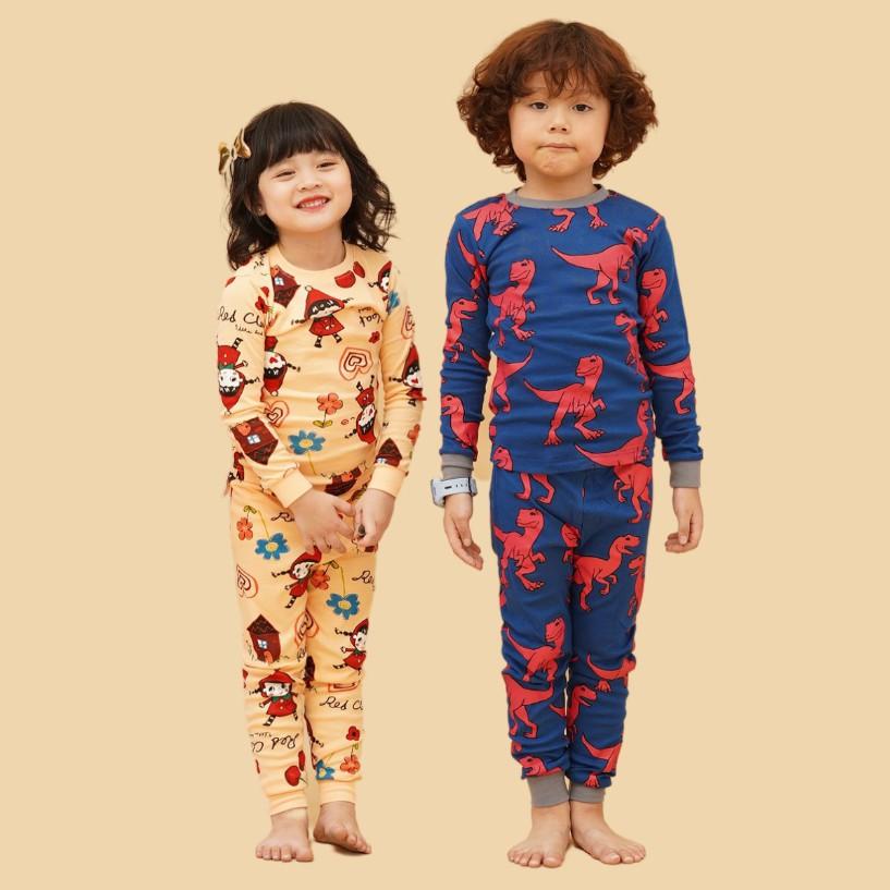 Bộ đồ cotton dài thu đông cho bé trai, bé gái của Unifriend Hàn Quốc UT01
