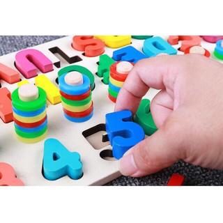 Đồ chơi bảng cọc số và chữ cái đa năng cho bé – bảng số Motessori