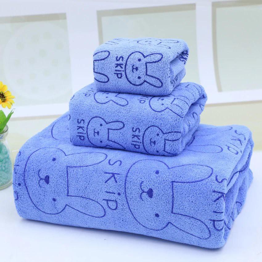 Combo 5 Bộ 3 khăn tắm - khăn mặt - khăn lau (Xanh)