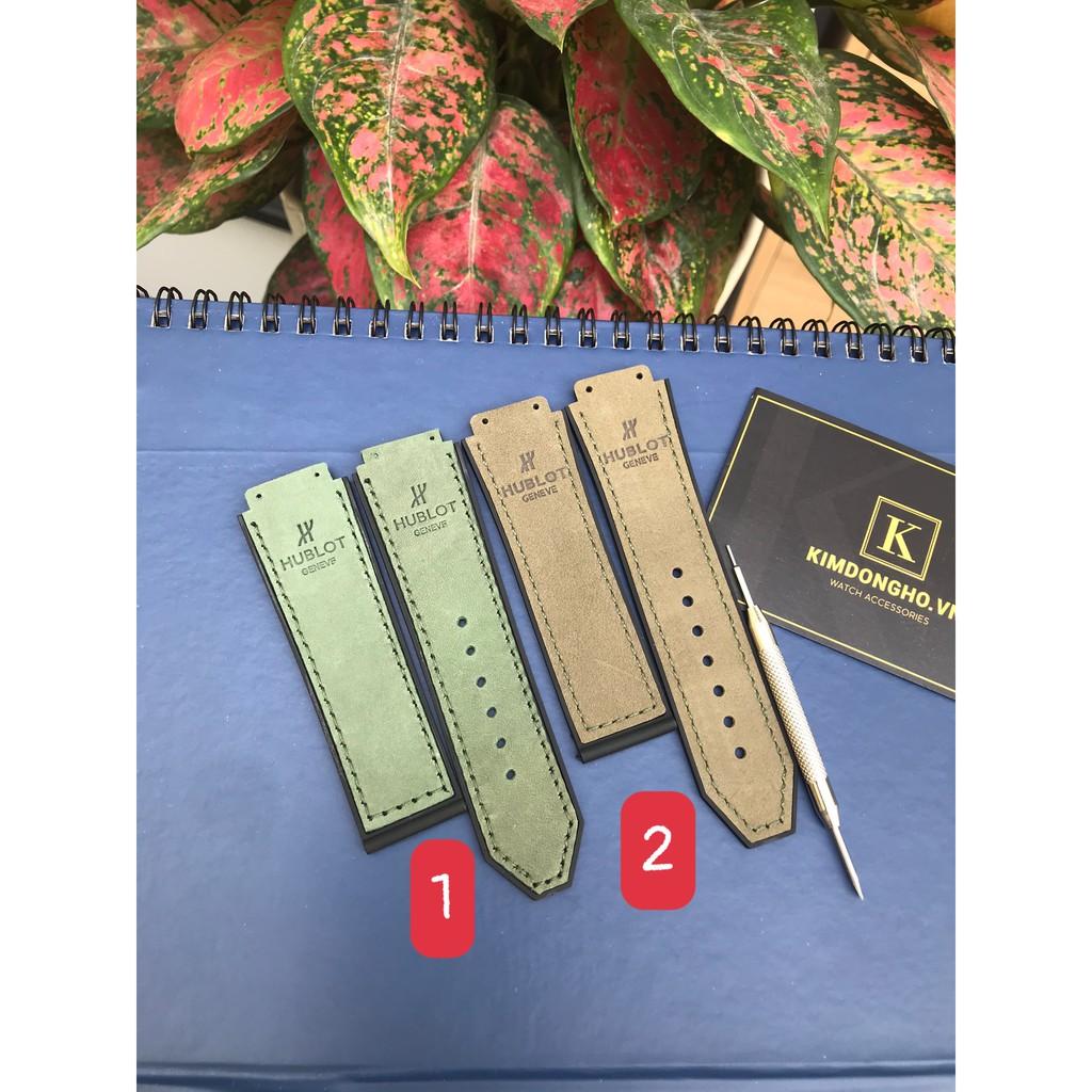 Dây đồng hồ da lộn xanh lá case 42 Fushion size 19-25-22 Tặng kèm tovit thay dây