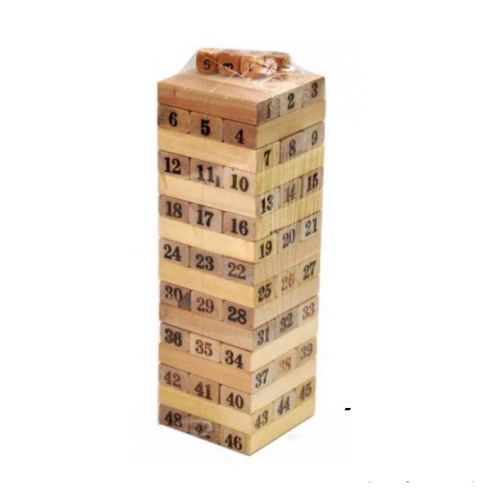 Đồ chơi rút gỗ 54 thanh xây tòa nhà 18 tầng cho bé