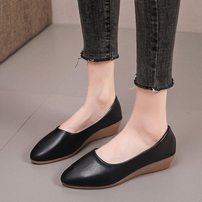 Giày bệt nữ màu đen mũi nhọn phong cách công sở thời trang chất lượng cao