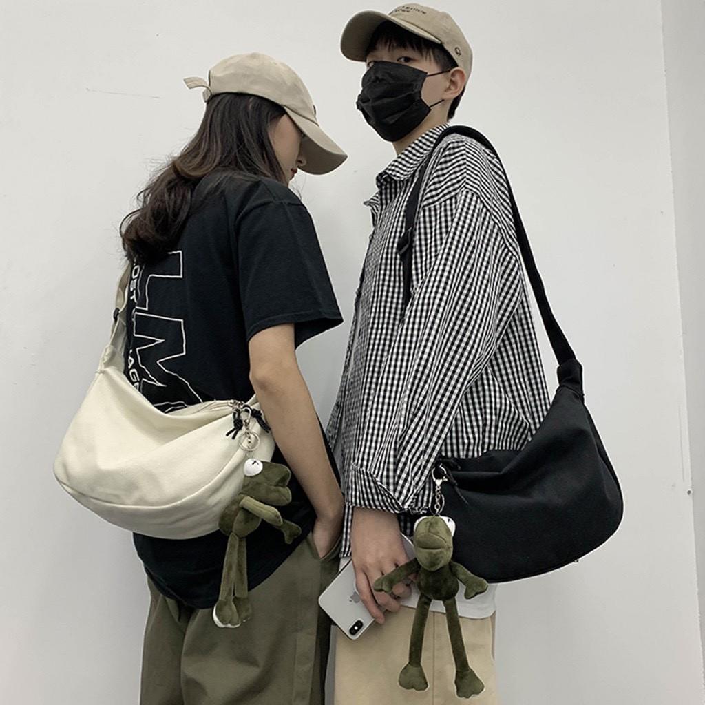 Túi Vải Đeo Chéo Khóa Kéo Hàn Quốc 2 Màu