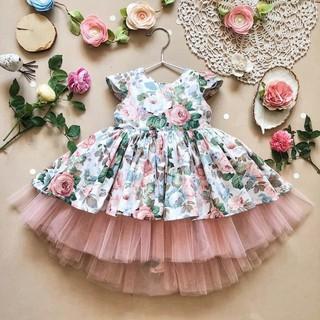 Váy Công Chúa Hoa Hồng Siêu Đẹp Voan Tầng 100% Cotton Hàn Cho Bé, Đầm Bé Gái