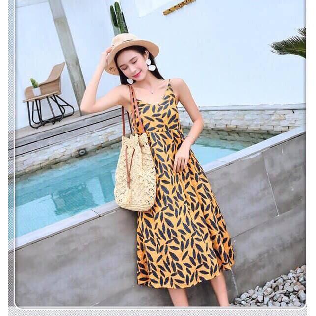 [GIÁ HỦY DIẾT]Đầm Maxi Hai Dây 2 Màu Đỏ Vàng Đi Biển Dạo Phố