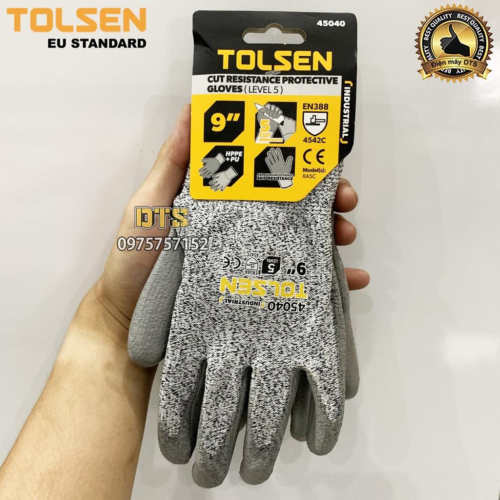 Găng tay chống cắt cấp độ 5 TOLSEN phủ PU, găng tay bảo hộ chống đâm xuyên, mài mòn, xé rách theo tiêu chuẩn EN388 4543