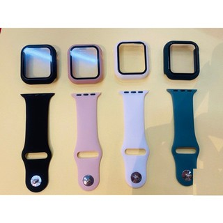 Combo Dây cao su + ốp dán mặt apple watch bảo vệ 360 độ 4 màu seri 1 2 3 4 5 38mm 42mm 40mm 44mm