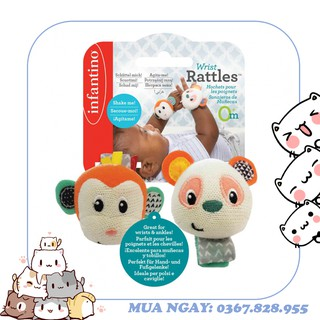 Lục lạc đeo tay chân gấu Panda và bạn Khỉ Infantino 206892