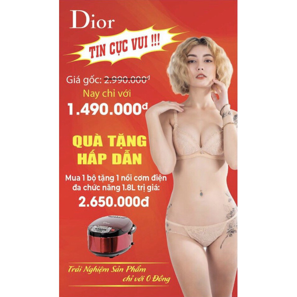Bộ Đồ Lót Nữ Cao Cấp Dior Size- M-L-XL: Màu- Đen-Da (TẶNG NGAY NỒI CƠM ĐIỆN  VÀ BỘI CHÉN CAO CẤP TRỊ GIÁ 2.650.000)