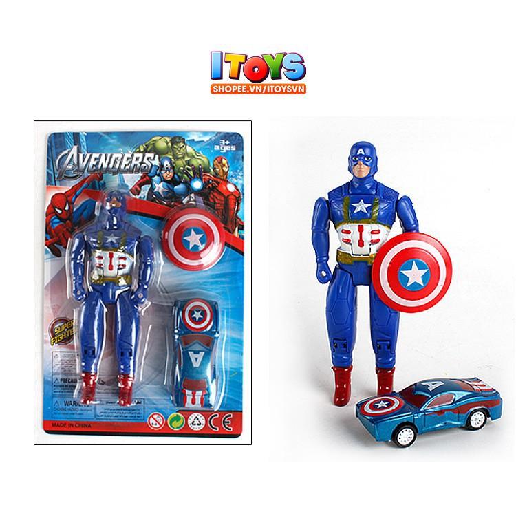 4 siêu anh hùng và xe ô tô, các khớp có thể cử động - AVENGERS HULK, IRON MAN, CAPTAIN AMERICA, THOR