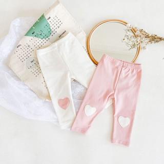 Quần legging cotton cho bé, quần legging lót lông hình tim siêu ấm đón gió mùa về, quần tất khồng bàn cho bé