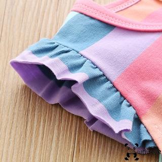 Đầm Ngắn Không Tay Màu Sắc Cầu Vồng Đáng Yêu Thời Trang Cho Bé Gái