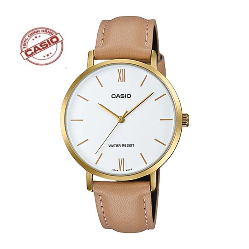 Đồng hồ nữ chính hãng casio Anh Khuê LTP-VT01GL-7BUDF dây da - có tem chống hàng giả