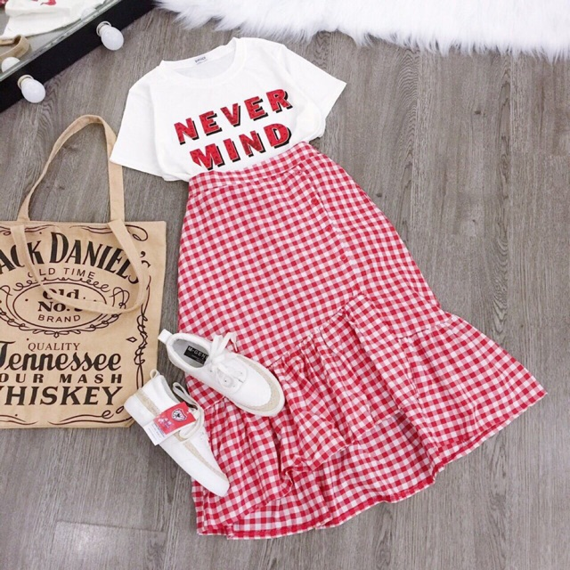 1079212527 - Set áo thun chân váy caro