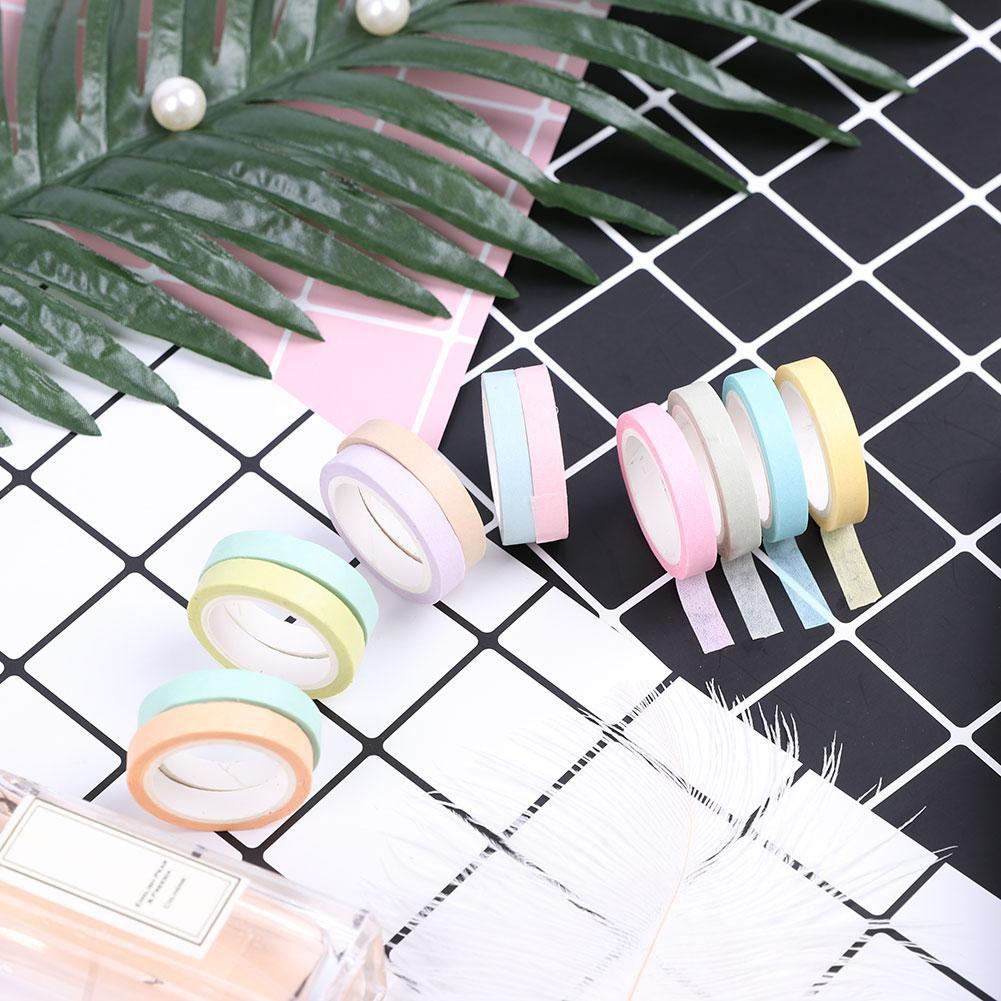 Instock JK H&L 12pcs/Set Adhesive Tape Lovely Stationery Rainbow Washi Paper Scrapbook Sticker