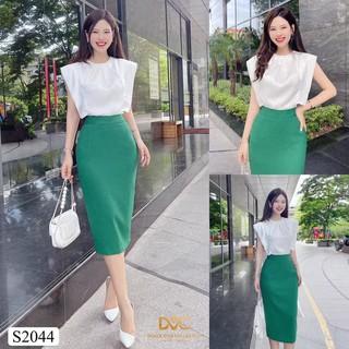 Set áo chất lụa cổ tròn mix chân váy bút chì tiểu thư hợp thời trang công sở S2044 _Design DVC [Kèm ảnh thật] thumbnail
