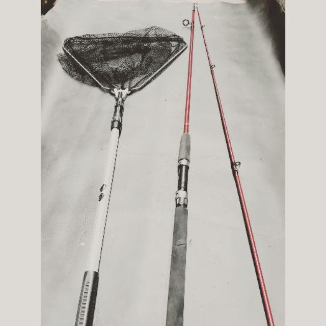 Combo cần 2 khúc shimano 2m7 và vợt vớt cá 1m7