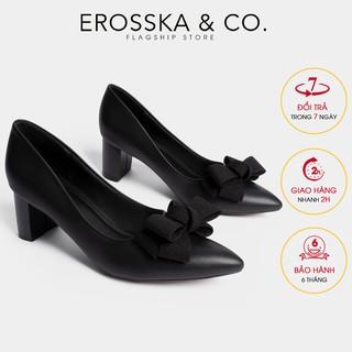 Giày cao gót Erosska thời trang mu i nho n đi nh nơ điê u đa kiê u da ng cơ ba n cao 5cm ma u đen _ EP005 thumbnail