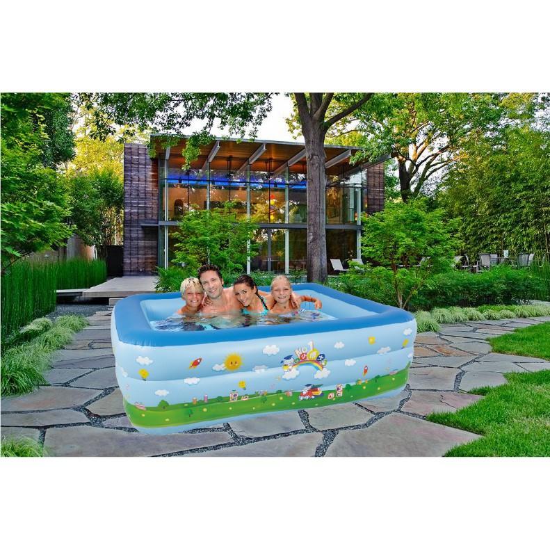 Bể bơi phao 2 tầng hoặc 3 tầng size 1m8 TẶNG BƠM ĐIỆN (180x140x60) (ngẫu nhiên) HOT