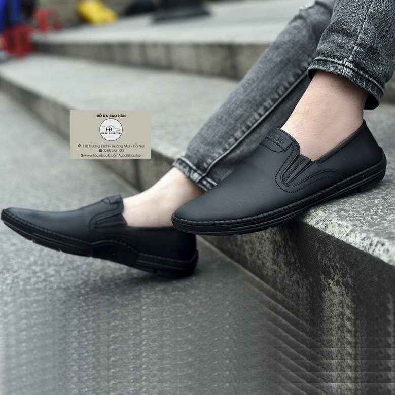 Giày Lười Da Nam Đế Khâu Da Thật Mã SL01
