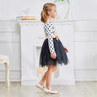 Đầm xòe dài tay họa tiết chấm bi thời trang cho bé gái
