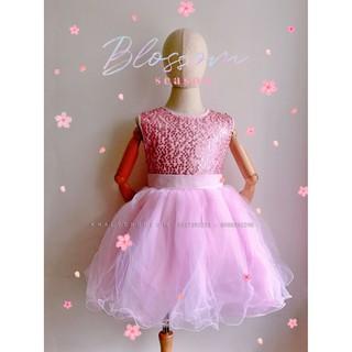 Đầm sát nách công chúa cao cấp, dạ hội, dự tiệc, bé gái 5 lớp voan phối lưới đính kim sa lấp lánh, màu hồng