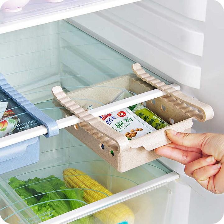 Khay phụ đựng đồ kẹp tủ lạnh thông minh tiện ích bằng nhựa lúa mạch