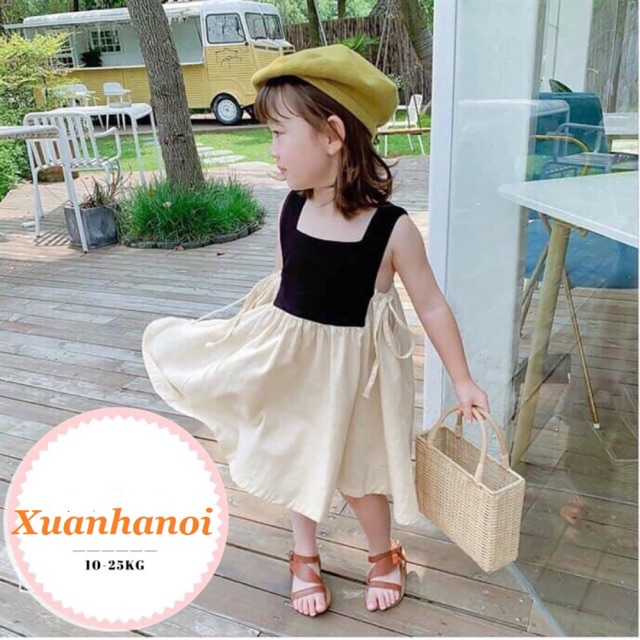 Váy đầm bé gái phối mầu đen thắt nơ eo điệu đà XHN306
