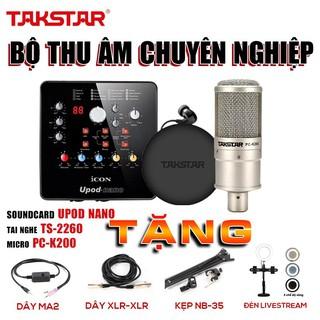 Combo hát karaoke, thu âm, tặng đèn livestream, Sourd card icon upod nano, mic thu âm pck200, tai nghe chuẩn phòng thu thumbnail
