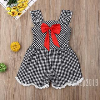 Mu♫-Kids Girl Black Plaid Playsuits Outfits Summer Children Short Suspender Overalls Bowknot Jumpsuits Clothes
