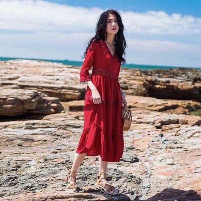 Váy maxi dài hai màu đỏ-trắng