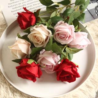 Hoa giả, Hoa hồng NHUNG loại đẹp 1 bông size Cao 51cm bông to 6cm trang trí nội thất,decor, sự kiện-Lụa trà quý tộc thumbnail