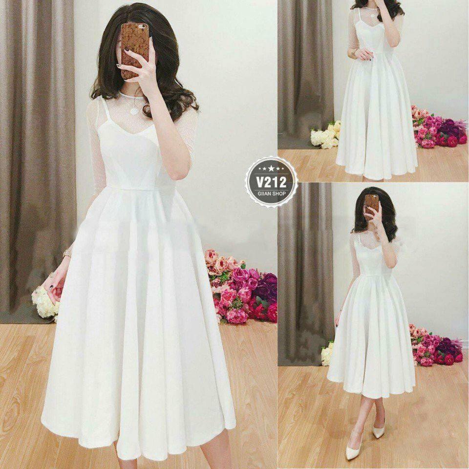 Đầm váy xòe tay lưới bi