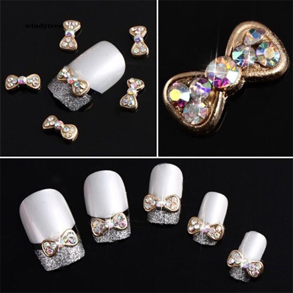 WDTE_10Pcs 3D Alloy Acrylic Bowknot Glitter Nail Art DIY Decoration Manicure Tool