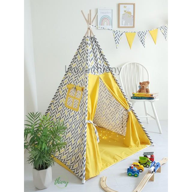 Lều vải cọc gỗ cho bé màu vàng kẻ – vải canvas gỗ tự nhiên – lều vải Thiên Ý